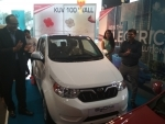Mahindra drives in its new 'e2oPlus' in Gurugram