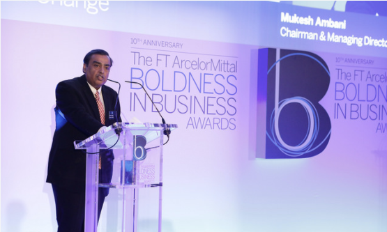 Reliance Industries Chairman Mukesh Ambani accepts the 'Drivers of Change' Award at the London Ceremony