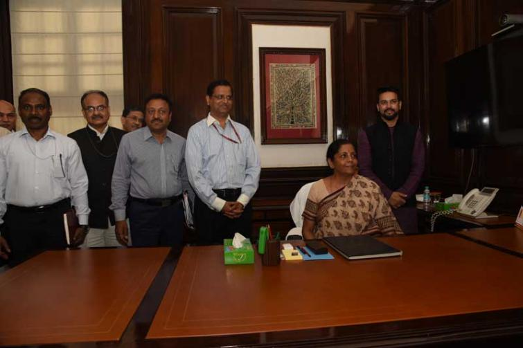 Nirmala Sitharaman takes charge as the Union Minister of Finance & Corporate Affairs