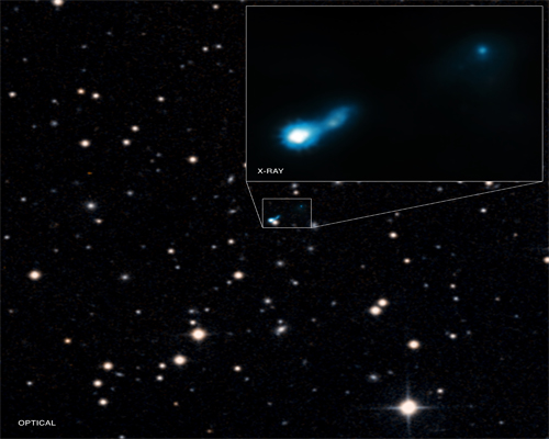 Glow from the Big Bang allows discovery of distant black hole jet