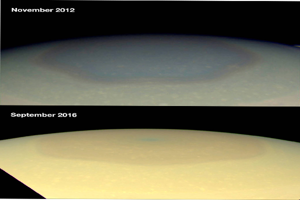 Changing colors in Saturn's north
