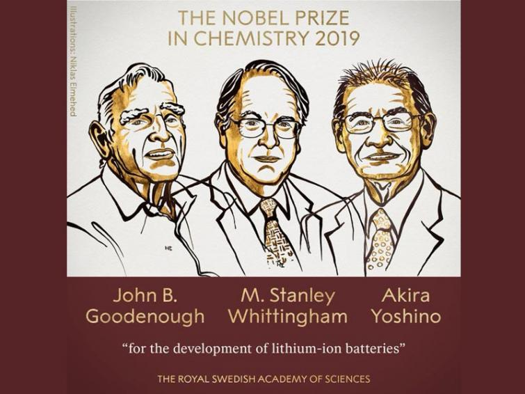 Nobel Prize in Chemistry awarded to three scientists for development of lithium-ion batteries