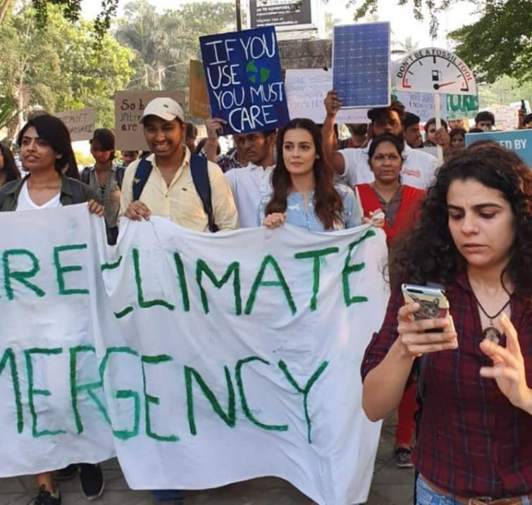 Actress Dia Mirza leads the strike against climate change in Mumbai