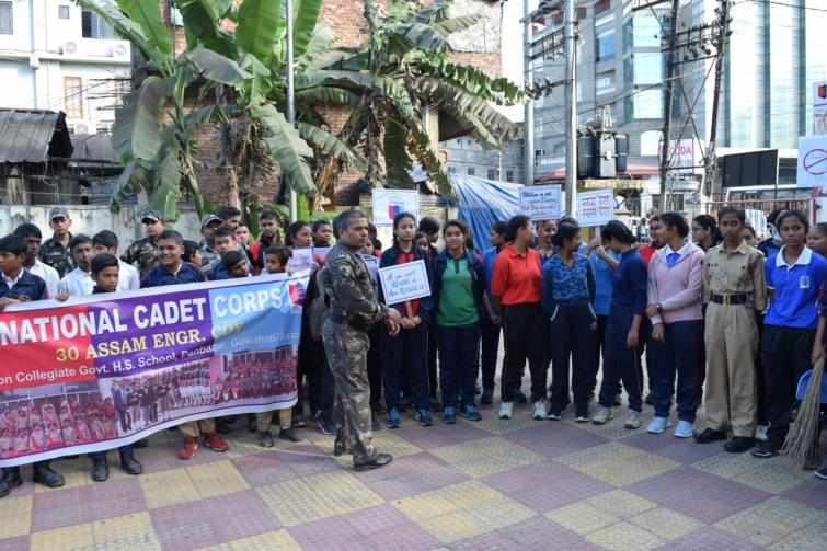 Plogging drive conducted by NCC cadets in Guwahati