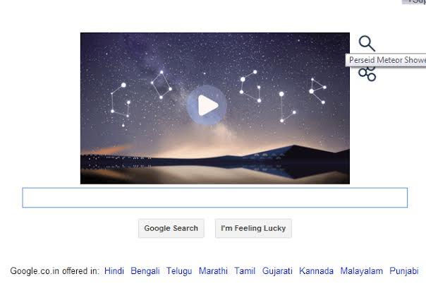 Google Doodle celebrates Perseid Meteor Shower