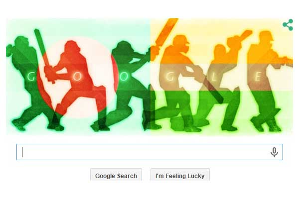 Google doodle celebrating India-Bangladesh q/f clash