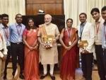 Students involved in building satellite Sathyabamasat calls on PM Modi