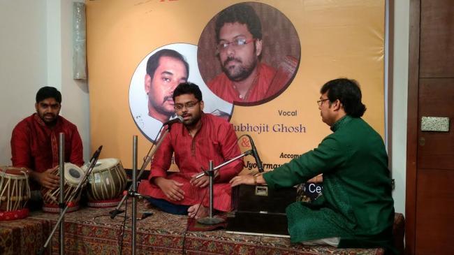 Santoor player Chiradip Sarkar performs at Weaver's Studio Centre  in Kolkata