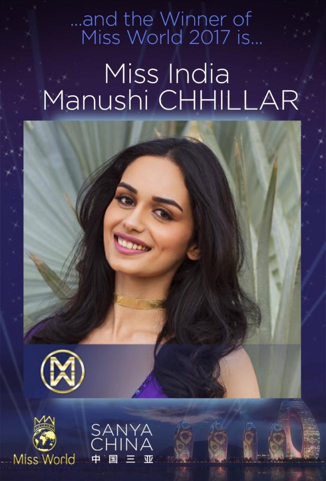Manushi Chillar  of India clinches Miss World 2017 title