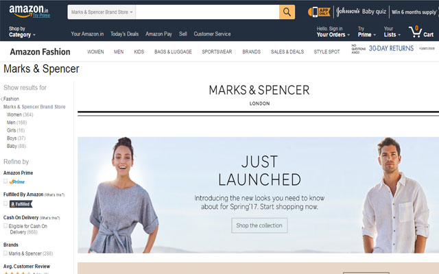 Marks & Spencer debuts on Amazon India