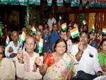 Senior citizens of Pronam hoist Tricolour, tie rakhis
