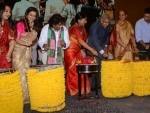 West Bengal Governor and city celebs play dhak to inaugurate Manicktala Chaltabagan `Dhak Utsav'