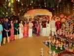 Amitabh Bachchan attends the Navratri Pooja festivities hosted by the Kalyanaraman family
