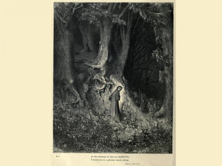 Dante finds himself lost in a gloomy wood, from Canto 1 of Divine Comedy, illustrated by Paul Gustave Doré (1832-1883). The image is from an 1861 edition of Dante