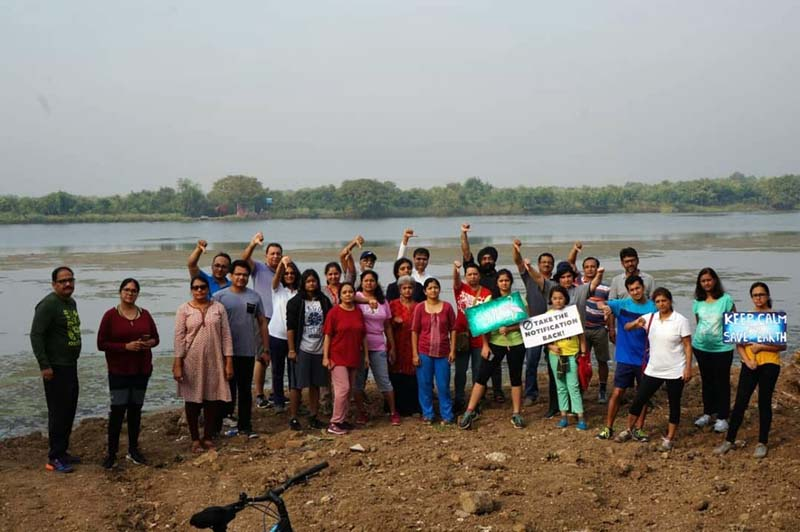 Citizens who joined the movement to protect Navi Mumbai's urban wetlands at Talawe. Photo from Sunil Agarwal.