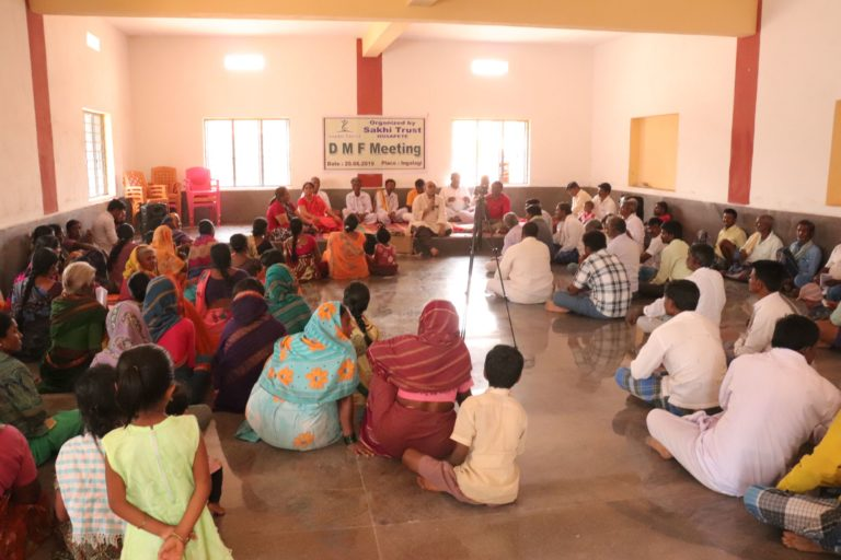 A community meeting on District Mineral Foundation Trust in a village in Karnataka. Photo by Dhaatri.