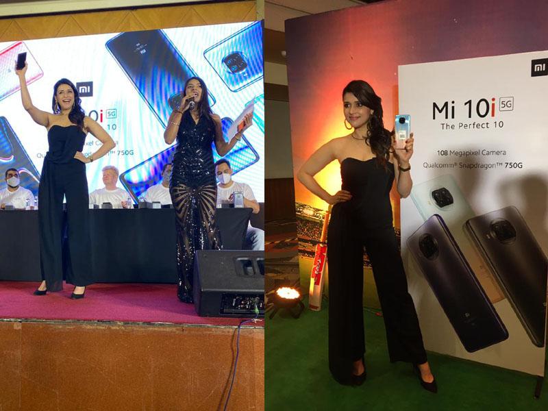Actress Mannara Chopra unveils Xiaomi Mi 10i Smartphone in Hyderabad