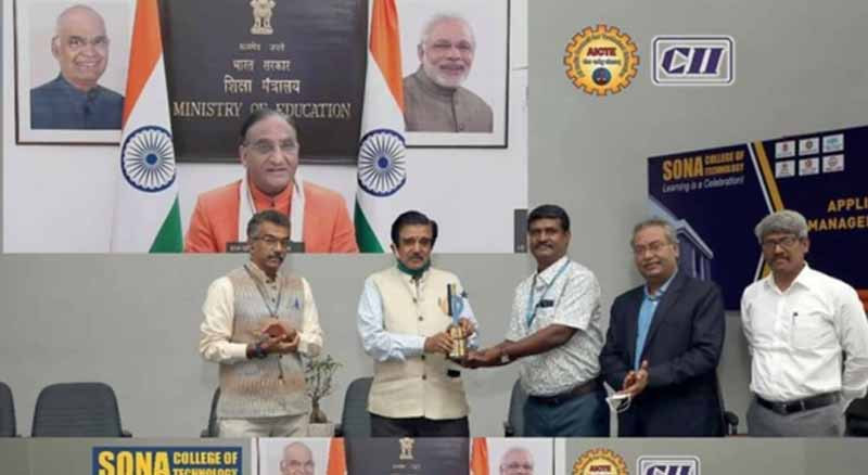 Sona College of Technology bags two AICTE-CII awards for best industry linked institute