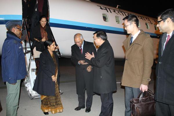 Sushma Swaraj reaches China