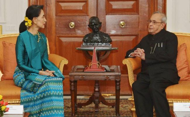 State Counsellor of Myanmar Aung San Suu Kyi calls on President Pranab Mukherjee in New Delhi