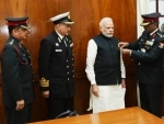 PM Modi meets officers of KSB on Flag Day