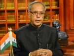 President Pranab Mukherjee greets people on the eve of Dusserah