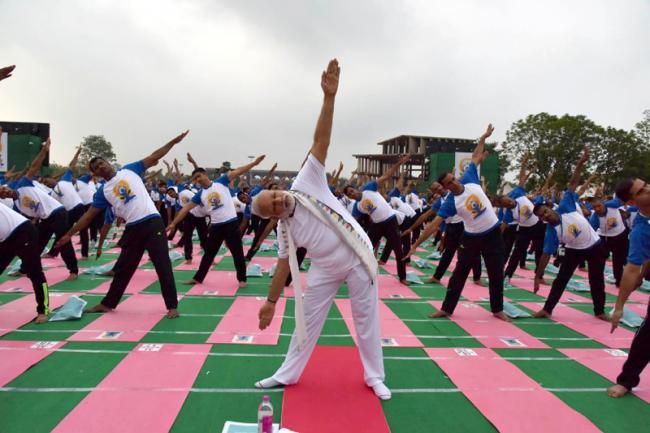 PM Narendra Modi leads the nation in celebrating International Yoga Day