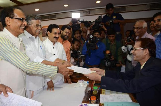 BJP's L Ganeshan files nomination for lone RS seat from Madhya Pradesh