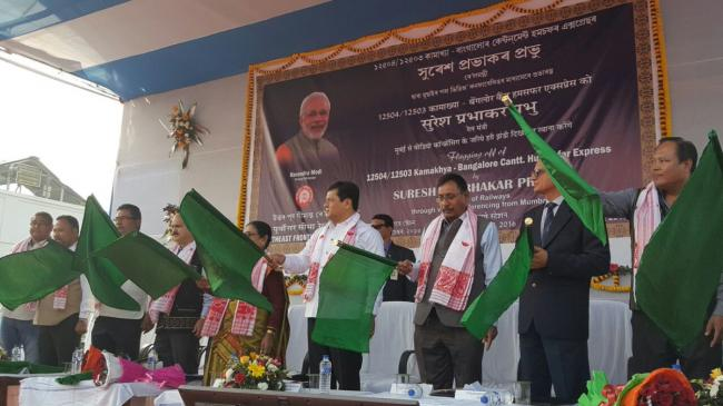 Prabhu, Sonowal flag off country's second luxury train Humsafar Express from Assam