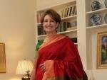 MaryKay Carlson finally wears maroon green Kanjeevaram on Independence Day