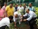 Rajnath Singh plants Rudraksh sapling at his residence
