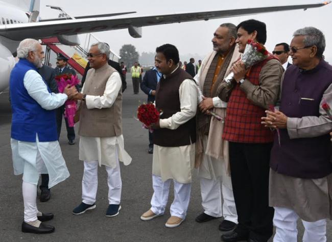 PM Modi reaches Patna Gandhi Maidan to attend Guru Govind Singh Prakash Parv celebrations
