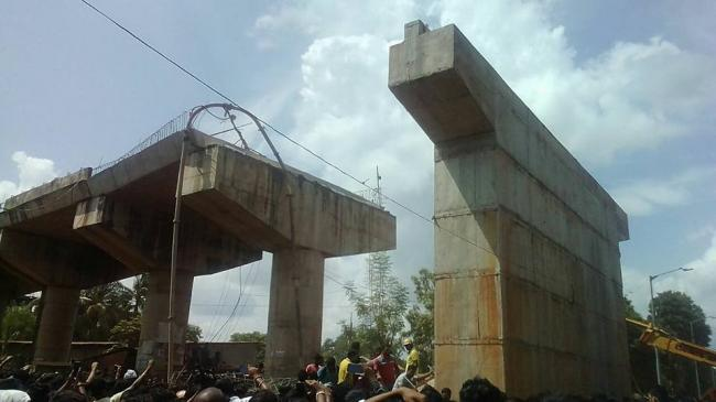 Bomikhal flyover span collapses: 1 dead, 11 hurt