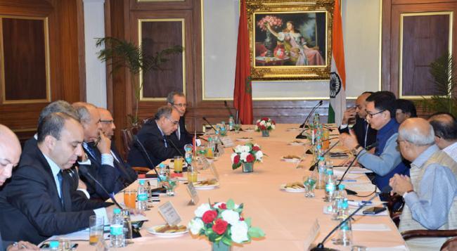 Delegation led by Minister of Interior of the Kingdom of Morocco meets Indian delegation led by Kiren Rijiju