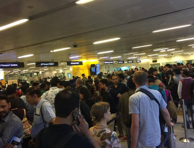 Home and civil aviation ministries play blame game over long queue at Delhi airport