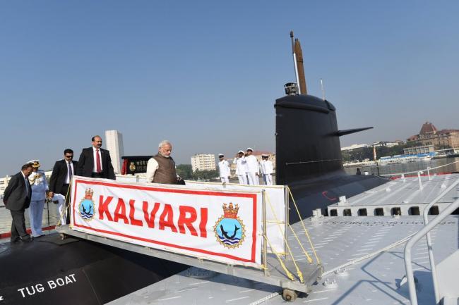 Narendra Modi in Mumbai to commission Navy submarine