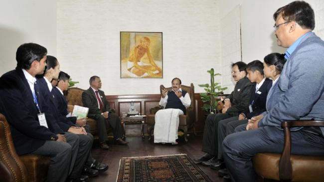 Vice President Naidu interacts with members of National Foundation of Communal Harmony