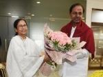 Telangana chief minister and TRS chief K. Chandrashekhar Rao meets Mamata Banerjee in Kolkata
