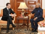 President of France Emmanuel Macron calls on President Ram Nath Kovind