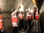 Kolkata: Union Minister Babul Supriyo inspects the country's first ever under- river tunnel of East-West Metro