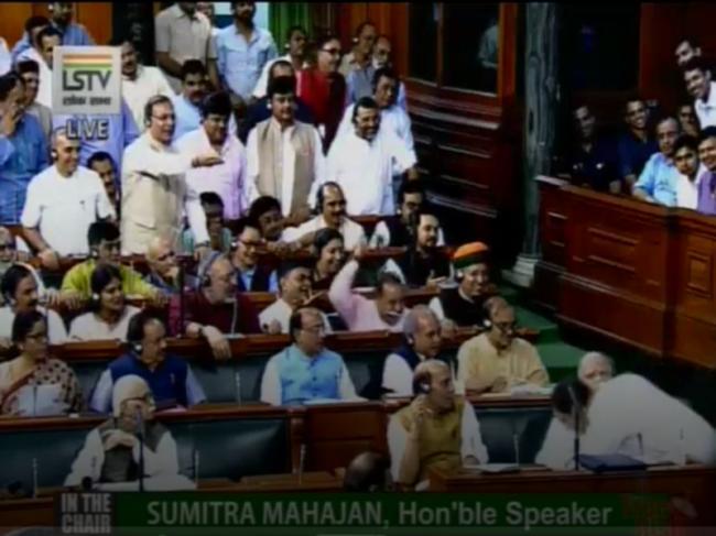 Rahul Gandhi hugs PM Modi during no-confidence motion debate