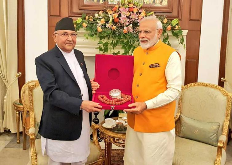 Nepal PM KP Sharma Oli gifts PM Narendra Modi 'Rudraksh'