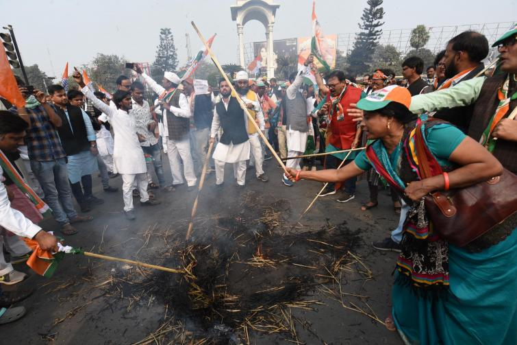 Congress workers protest against CAB in Uttar Pradesh