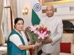 Sushma Swaraj, Union Jal Shakti Minister Shekhawat call on Prez Kovind