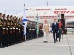 Narendra Modi arrives in Russia
