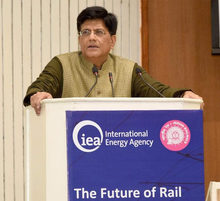 "Piyush Goyal launches the IEA's Report ""The Future of Rail"""