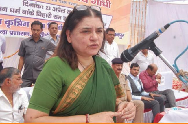 Maneka Gandhi caught on camera referring to Muslim voters in her speech in Sultanpur