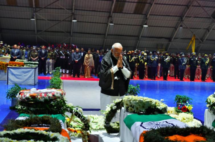 PM Modi pays respects to fallen CRPF jawans at Palam Airport
