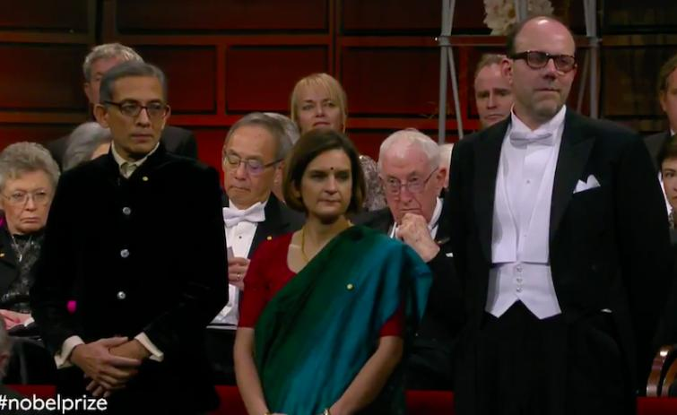 Dressed in Bengali attire, Abhijit Banerjee along with wife Esther Duflo receives Nobel Prize