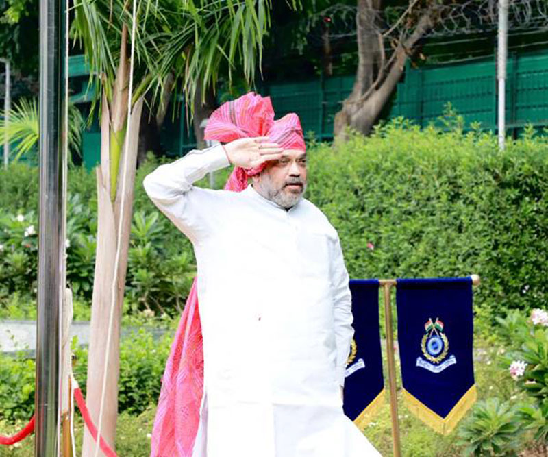 Amit Shah unfurls tricolour, greets nation on Independence Day